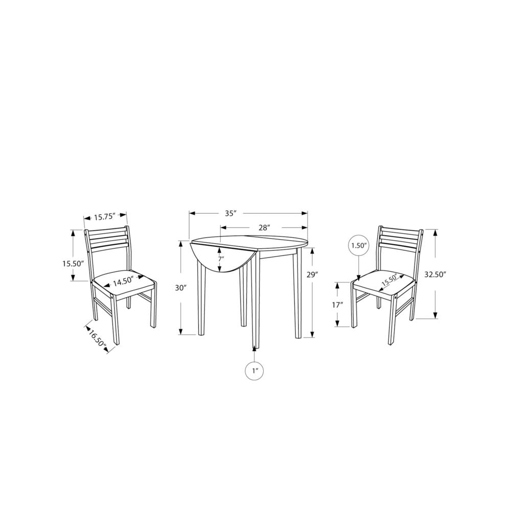 "DINING SET - 3PCS SET / NATURAL WITH A 36""DIA DROP LEAF. Picture 4"