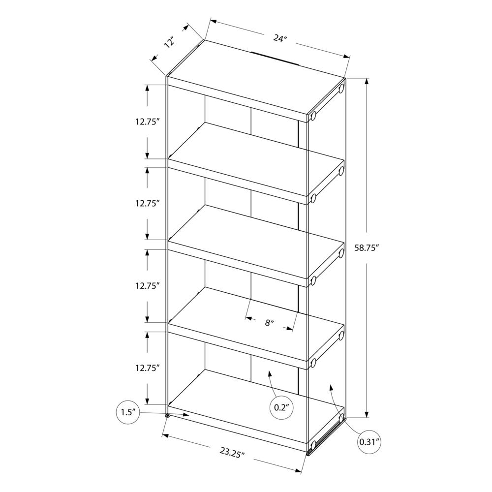 """4 SHELF BOOKCASE - 60""""H / GLOSSY WHITE WITH TEMPERED GLASS. Picture 4"""