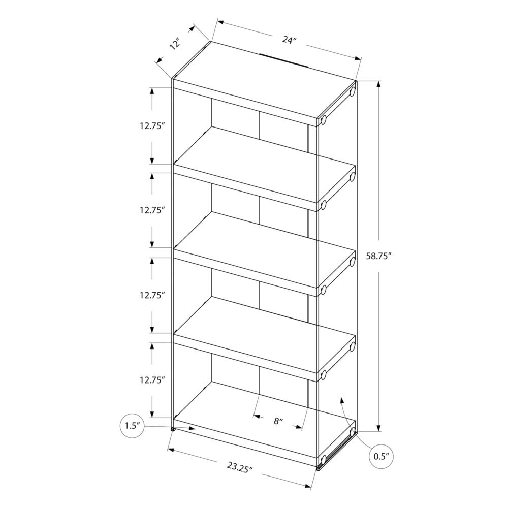 """4 SHELF BOOKCASE - 60""""H / GLOSSY WHITE WITH TEMPERED GLASS. Picture 5"""