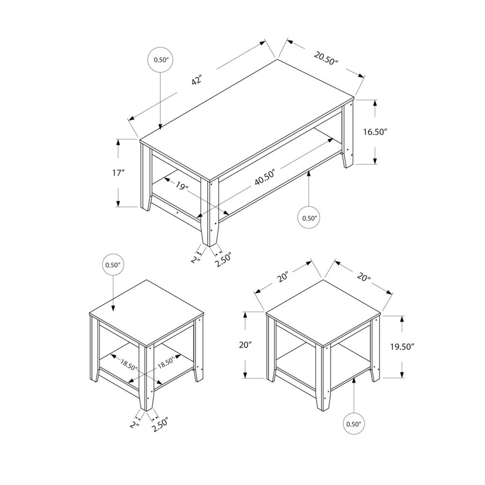 TABLE SET - 3PCS SET / DARK TAUPE. Picture 5