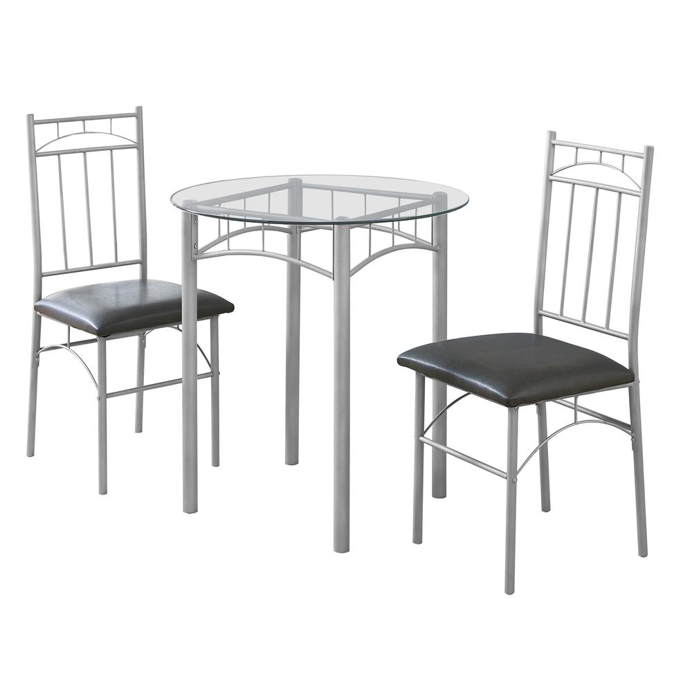 Glass Dinning Set: 3Pcs Set / Silver Metal / Tempered Glass