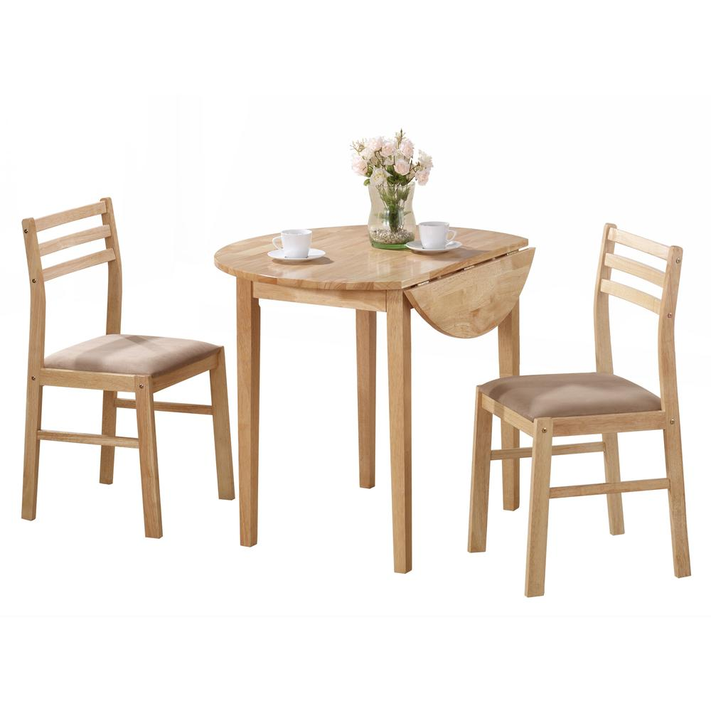 "DINING SET - 3PCS SET / NATURAL WITH A 36""DIA DROP LEAF. Picture 1"