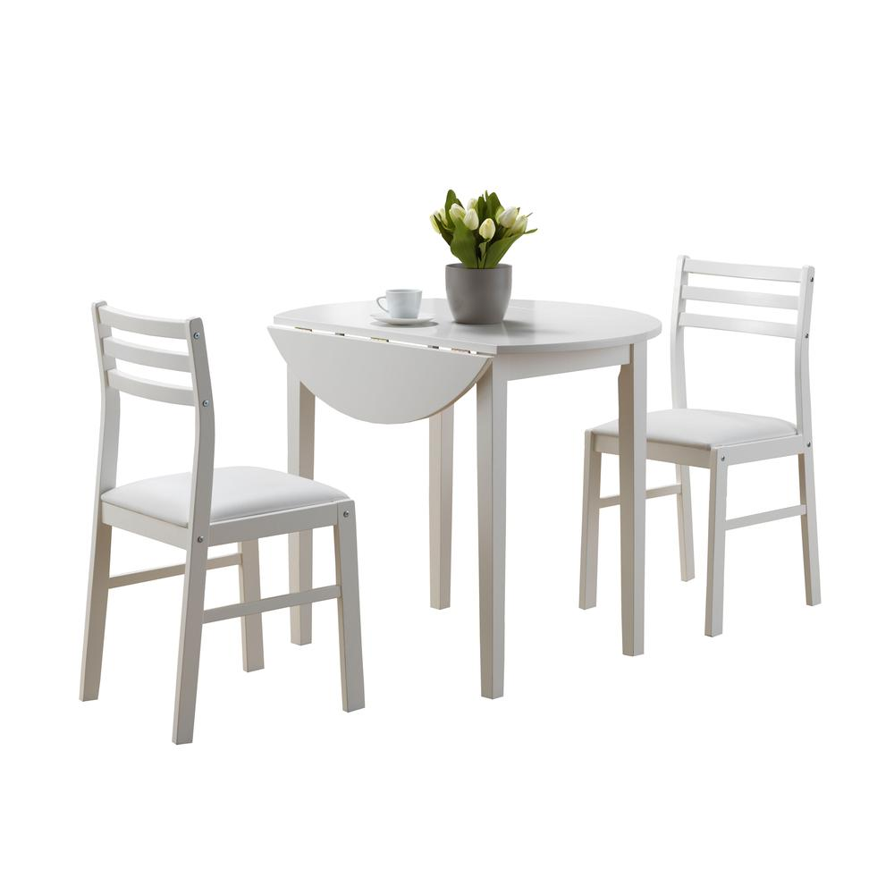 "DINING SET - 3PCS SET / WHITE WITH A 36""DIA DROP LEAF. Picture 1"
