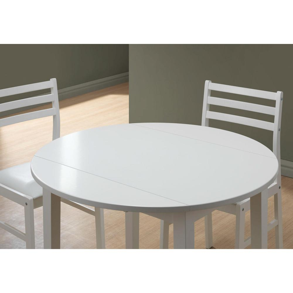 "DINING SET - 3PCS SET / WHITE WITH A 36""DIA DROP LEAF. Picture 3"