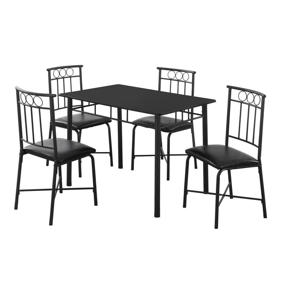 DINING SET - 5PCS SET / BLACK METAL AND TOP. Picture 1