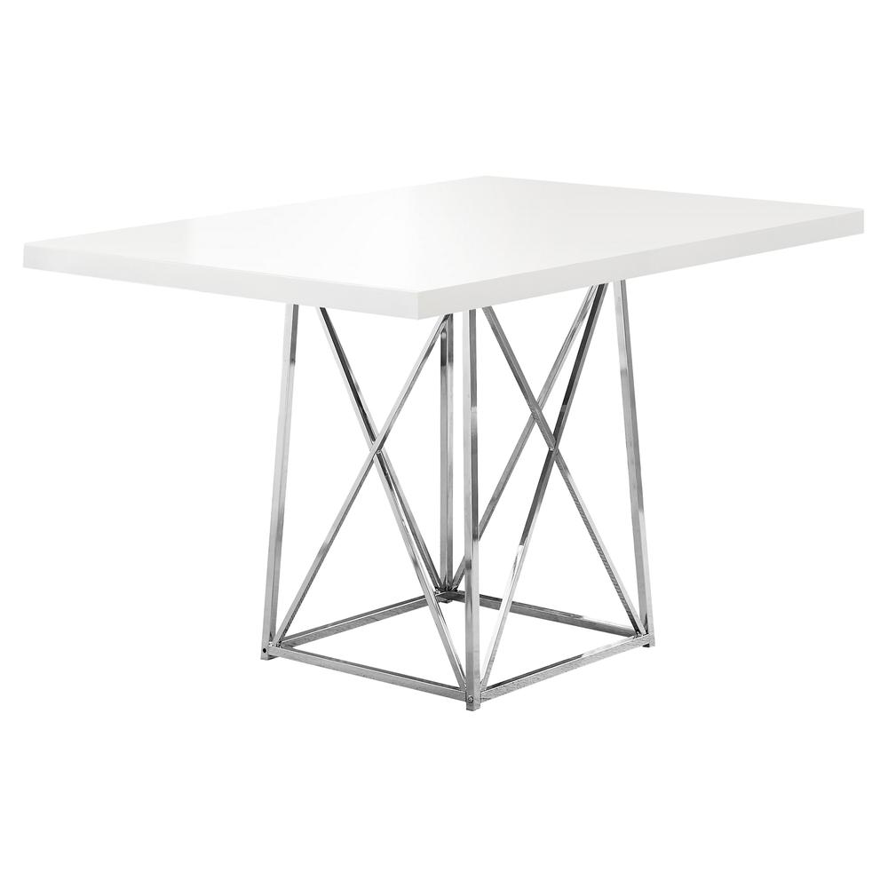"""DINING TABLE - 36""""X 48"""" / WHITE GLOSSY / CHROME METAL. Picture 1"""