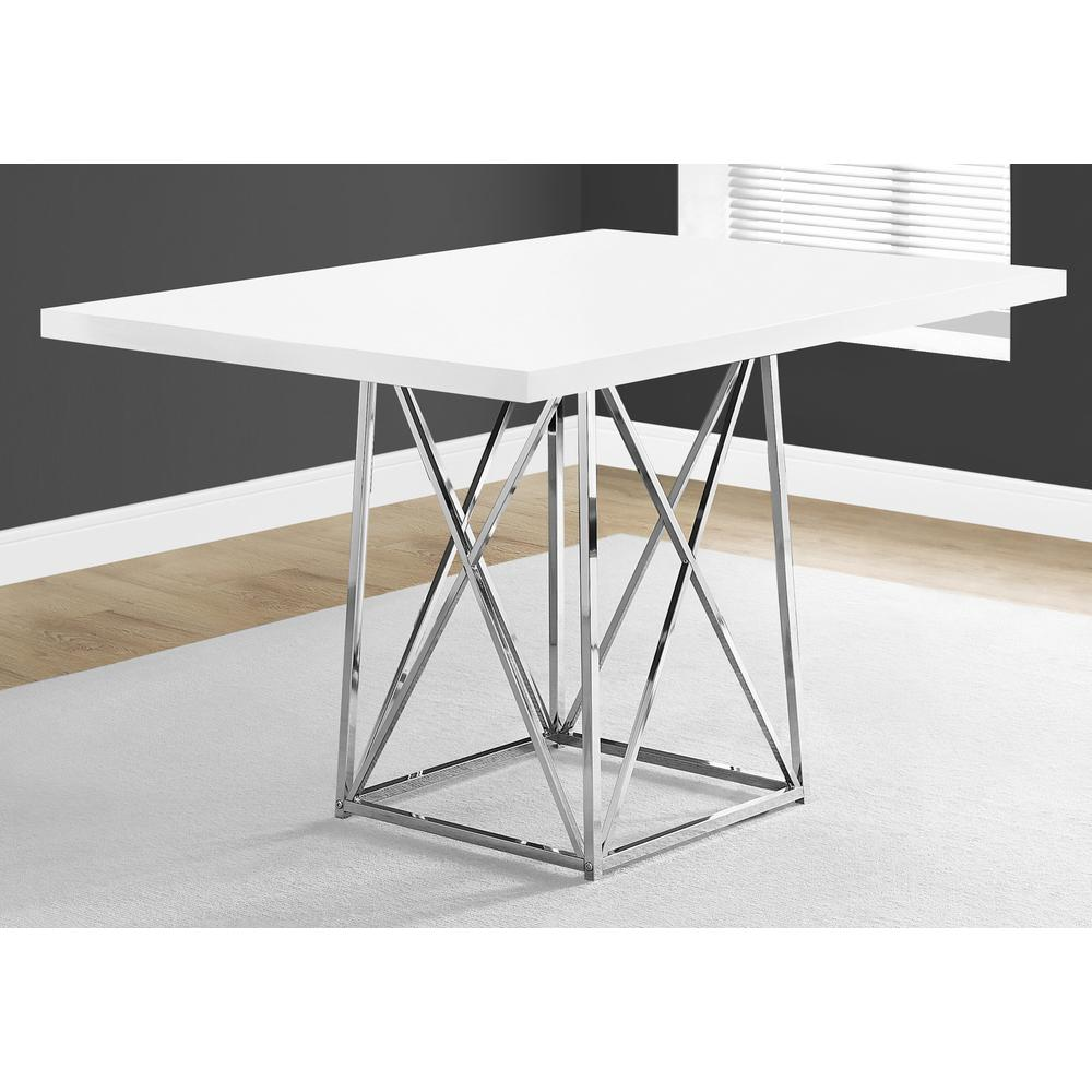 """DINING TABLE - 36""""X 48"""" / WHITE GLOSSY / CHROME METAL. Picture 3"""
