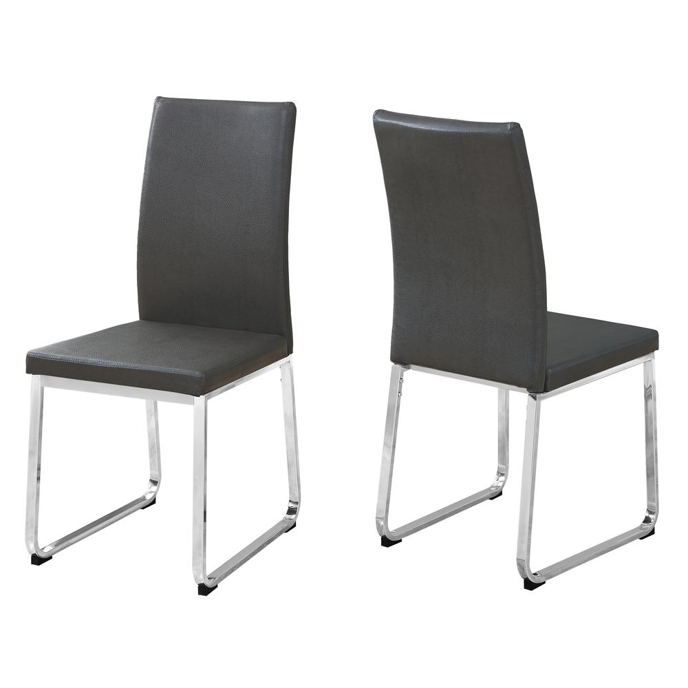 """DINING CHAIR - 2PCS / 38""""H / GREY LEATHER-LOOK / CHROME. Picture 1"""