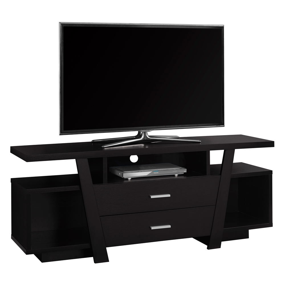 Tv stand 60 l cappuccino with 2 storage drawers for Tv console with storage