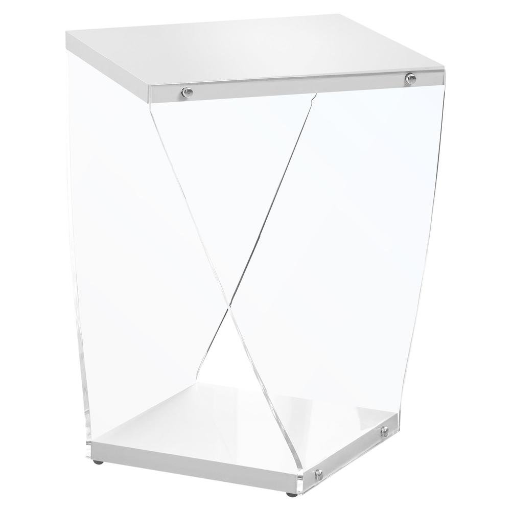 """ACCENT TABLE - 22""""H / GLOSSY WHITE / CLEAR ACRYLIC. Picture 1"""