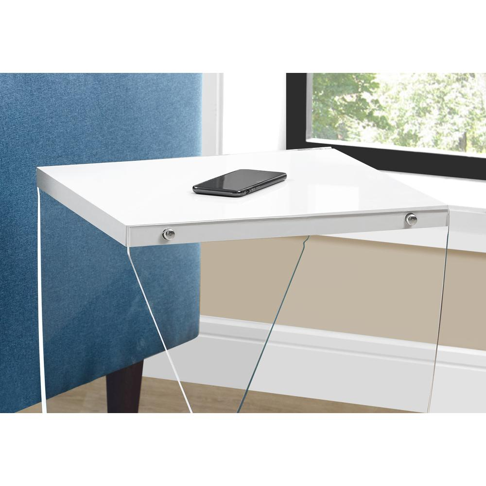 """ACCENT TABLE - 22""""H / GLOSSY WHITE / CLEAR ACRYLIC. Picture 3"""