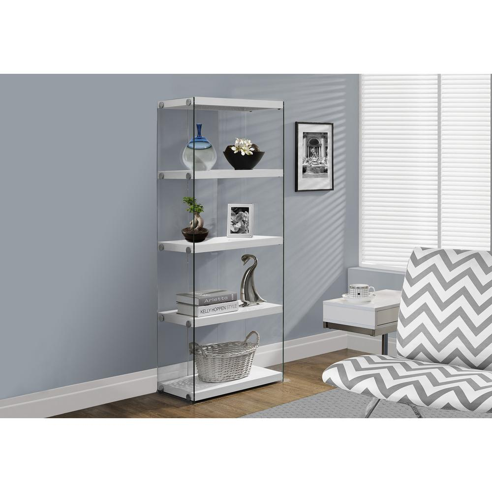 """4 SHELF BOOKCASE - 60""""H / GLOSSY WHITE WITH TEMPERED GLASS. Picture 1"""
