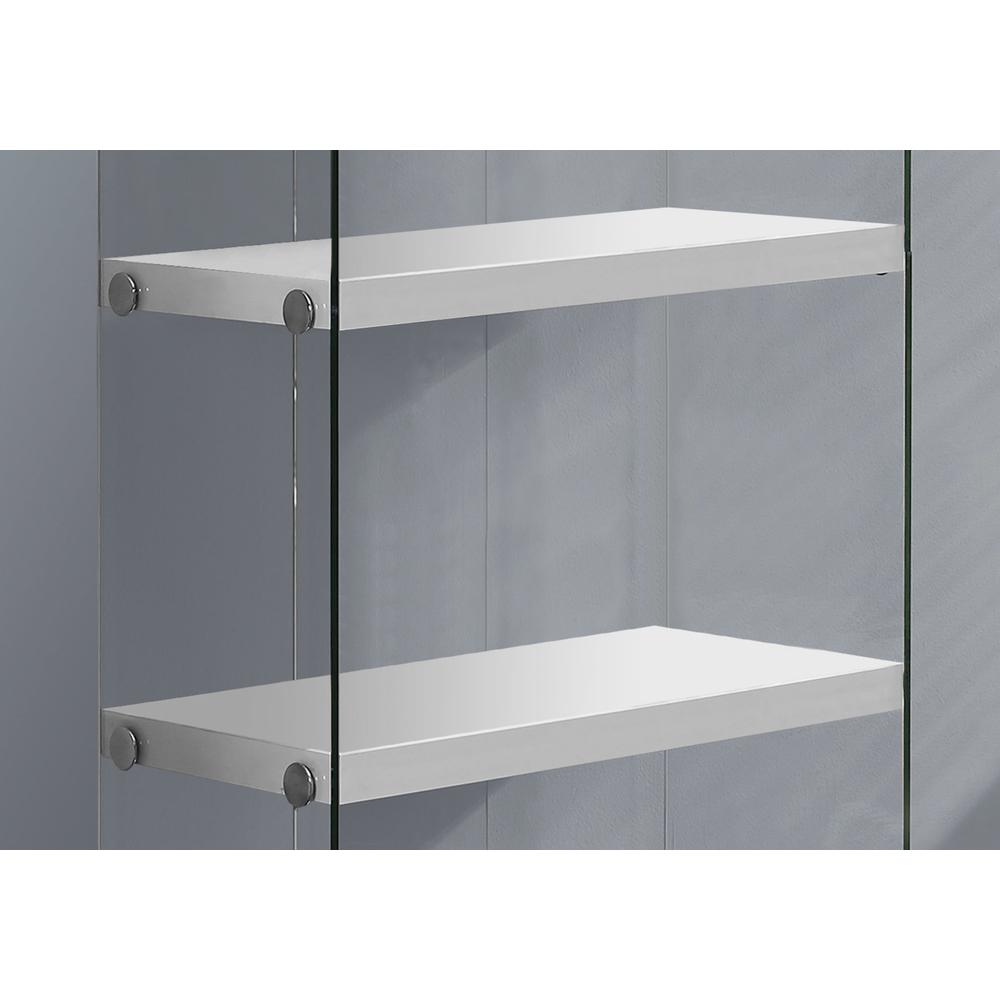 """4 SHELF BOOKCASE - 60""""H / GLOSSY WHITE WITH TEMPERED GLASS. Picture 3"""