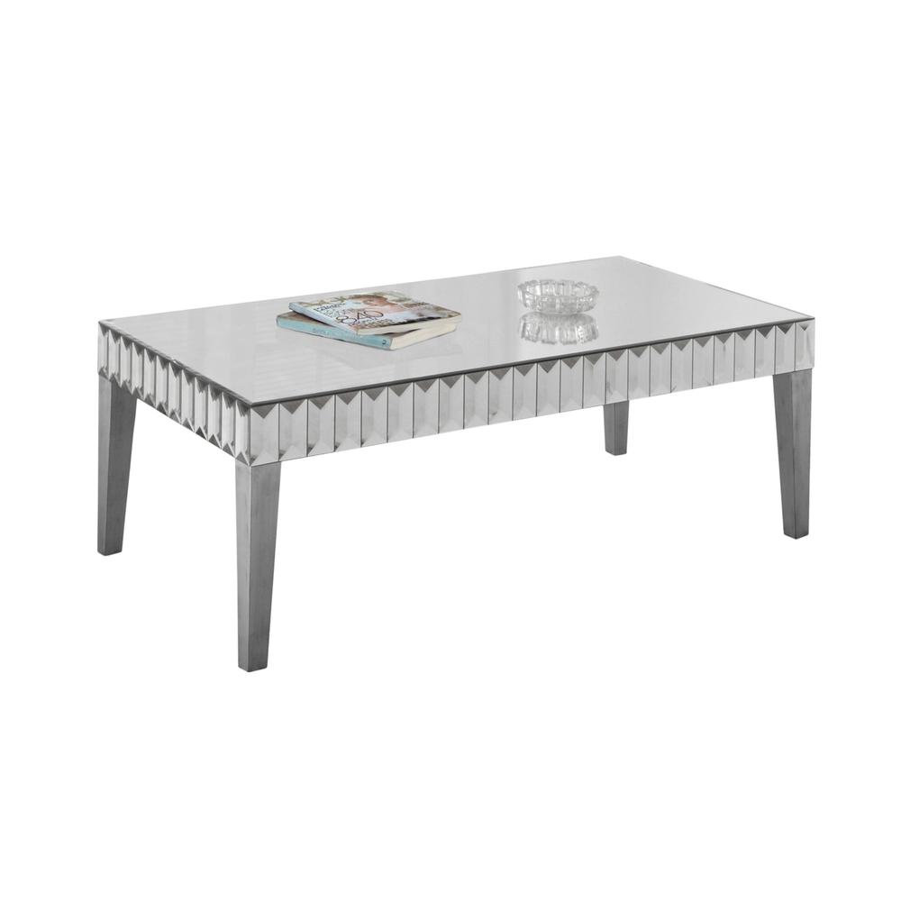 Coffee Table 48 X 24 Brushed Silver Mirror