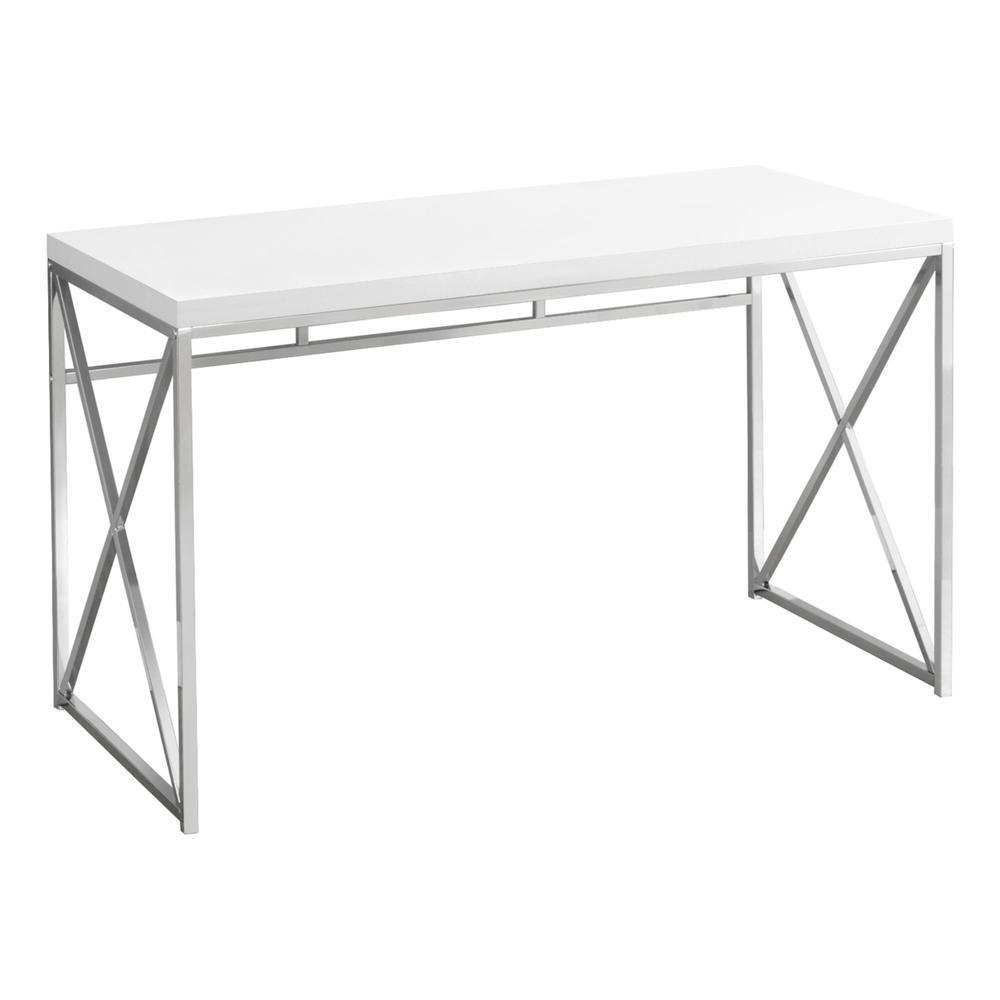 Computer Desk 48 Quot L Glossy White Chrome Metal