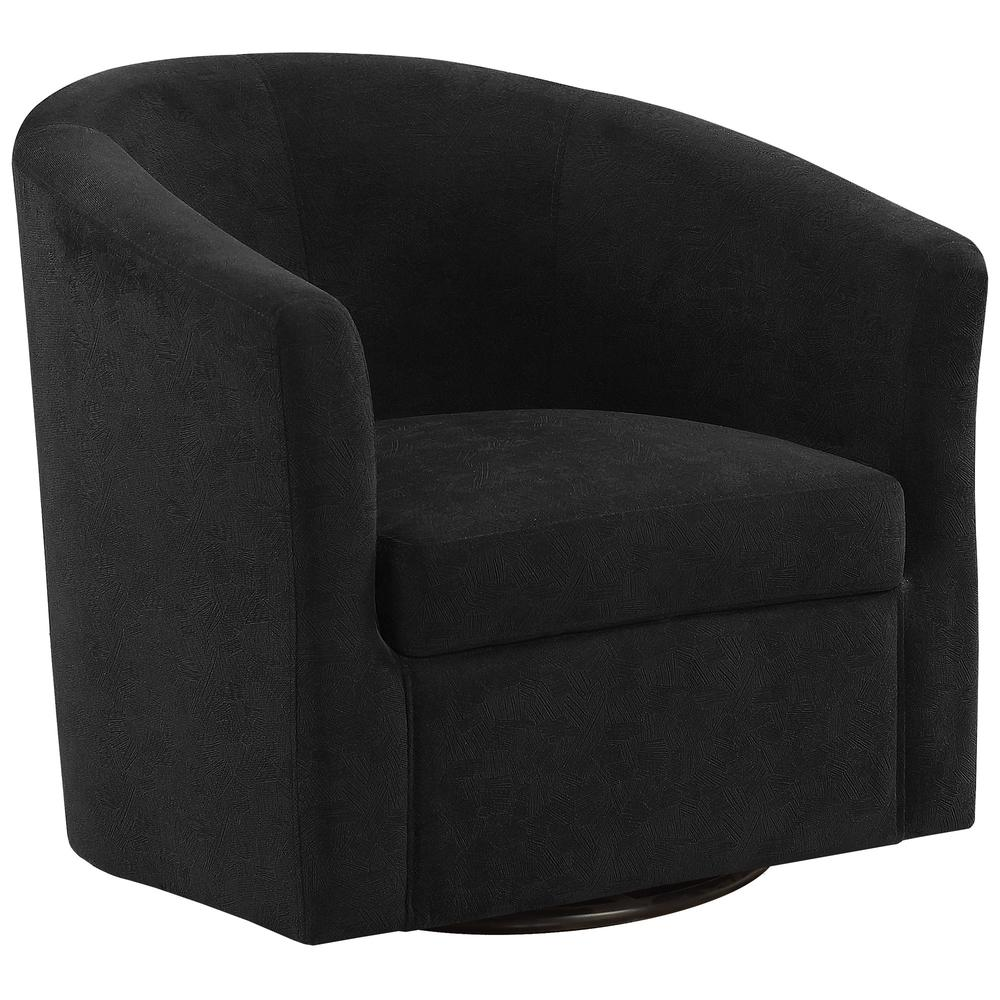 ACCENT CHAIR - SWIVEL / BLACK ABSTRACT VELVET. Picture 1