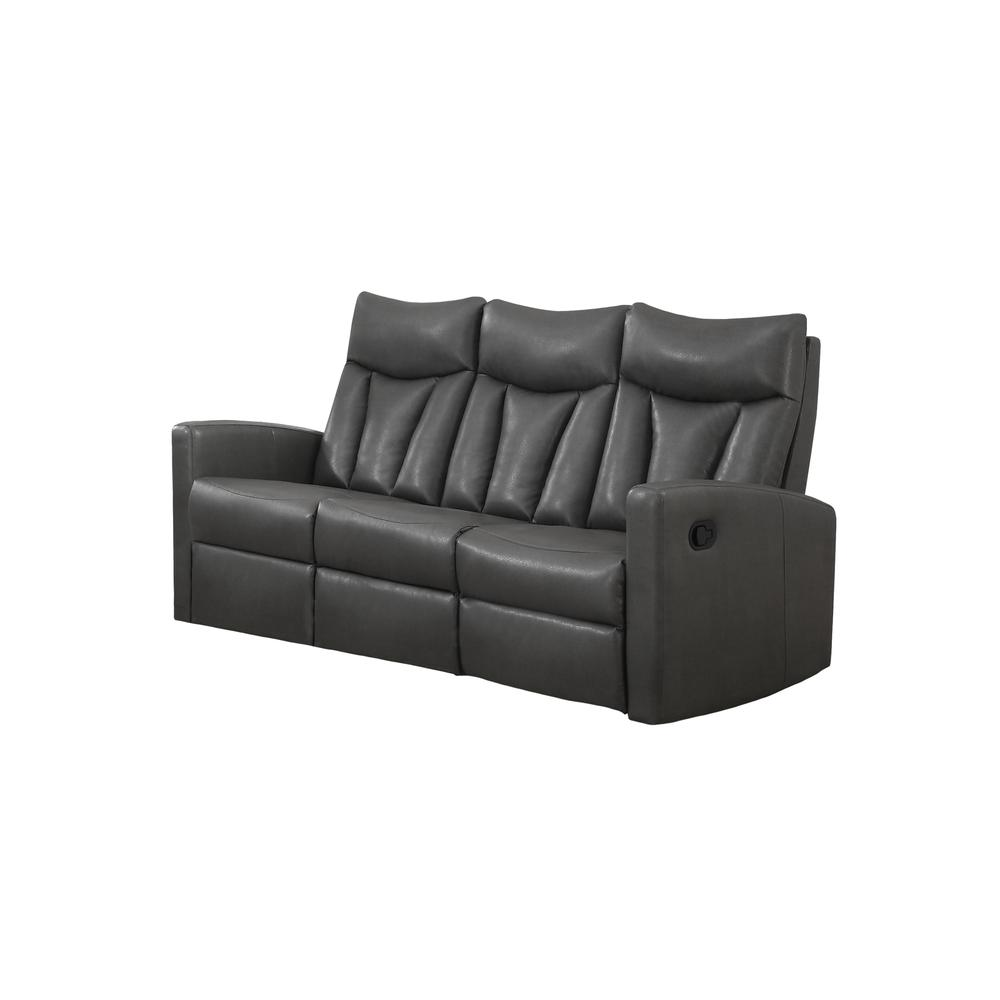 reclining sofa charcoal grey bonded leather. Black Bedroom Furniture Sets. Home Design Ideas