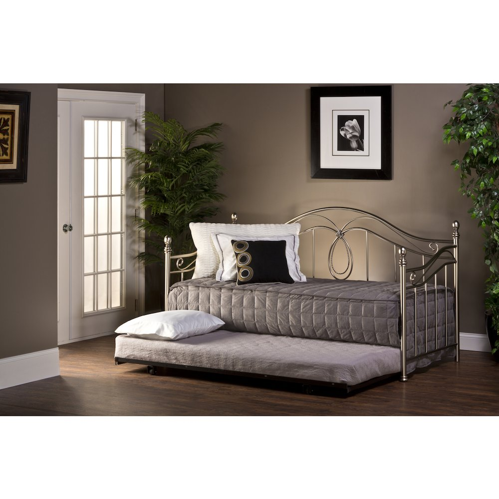Milano Daybed W Suspension Deck And Trundle Antique Pewter