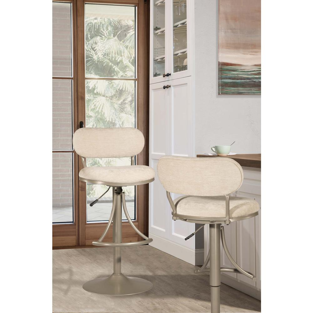 Athena Swivel Adjustable Counter Height/Bar Height Stool - Champagne Metal Finish. Picture 7