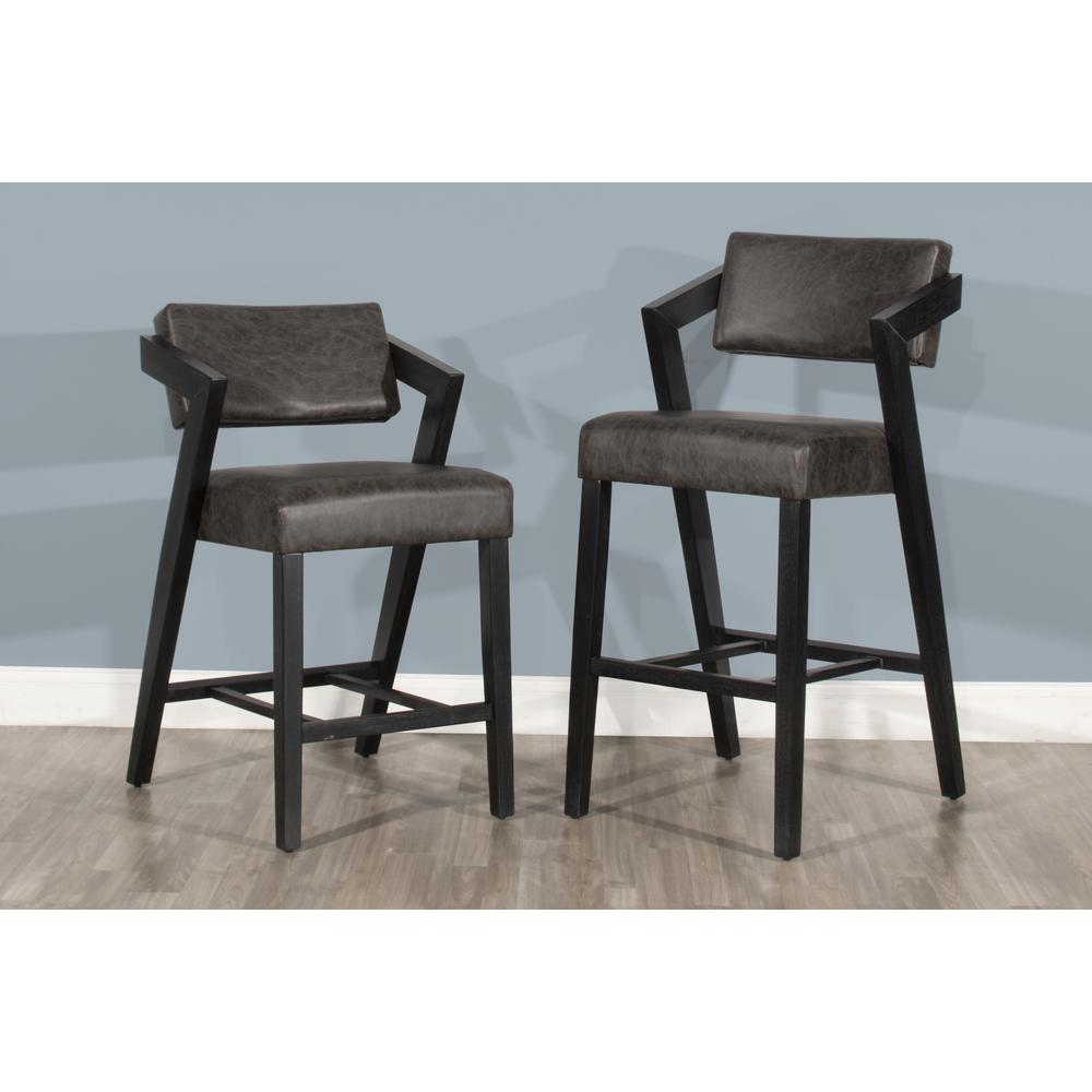 Snyder Non-Swivel Bar Height Stool, Blackwash. Picture 1