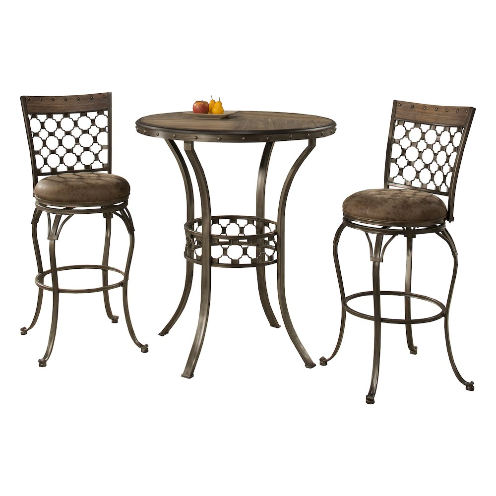 lannis 3 piece bar height bistro dining set brushed steel metal distressed brown gray. Black Bedroom Furniture Sets. Home Design Ideas