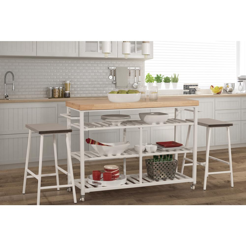 Kennon Kitchen Cart in White with Wood Top. Picture 3