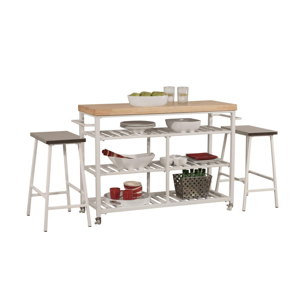 Kennon Kitchen Cart in White with Wood Top. Picture 5