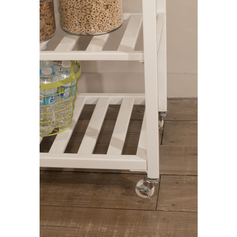 Kennon Kitchen Cart in White with Wood Top. Picture 9