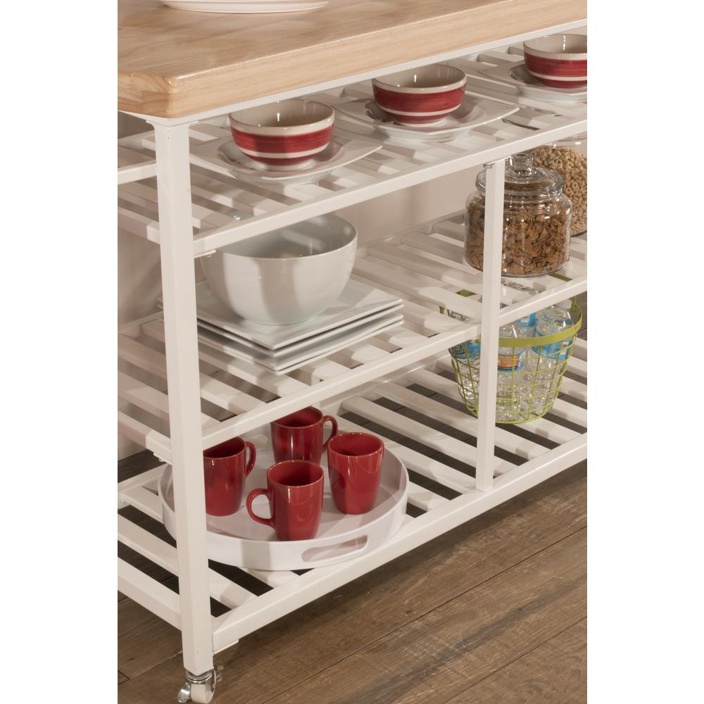 Kennon Kitchen Cart in White with Wood Top. Picture 11