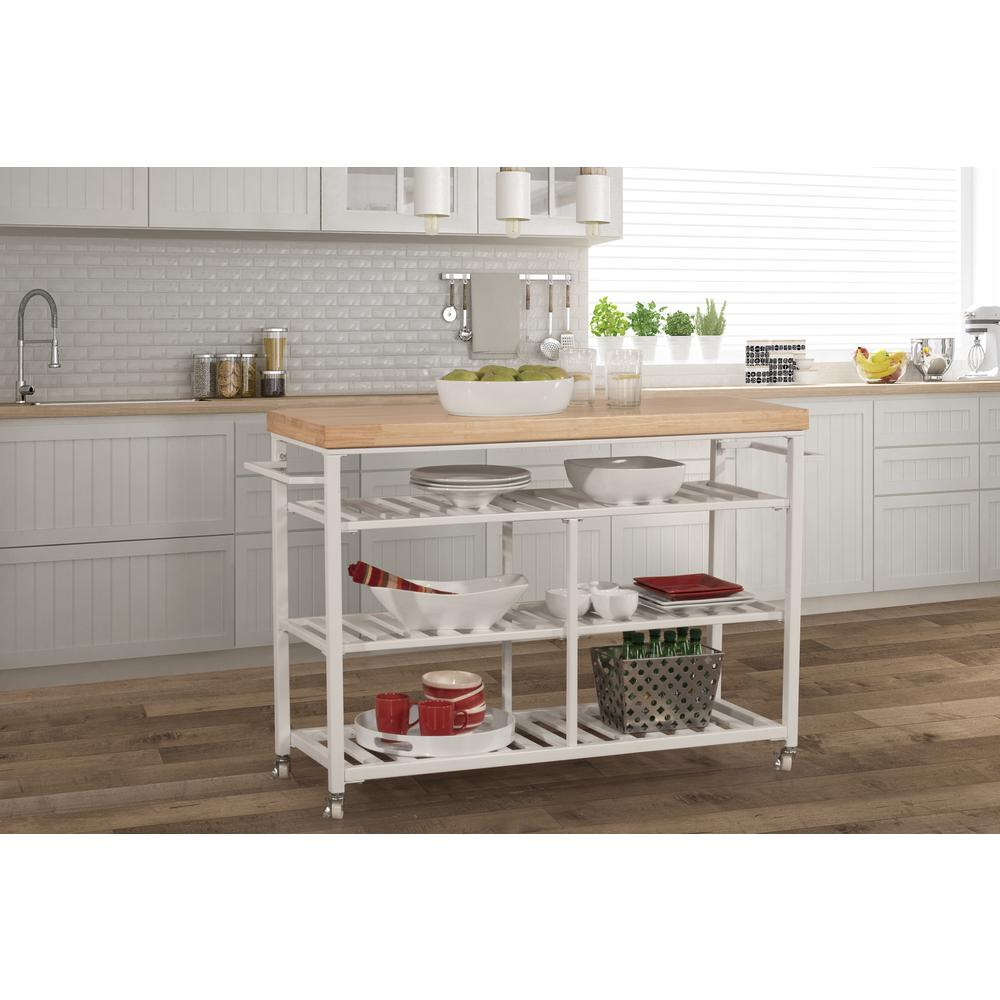 Kennon Kitchen Cart in White with Wood Top. Picture 12