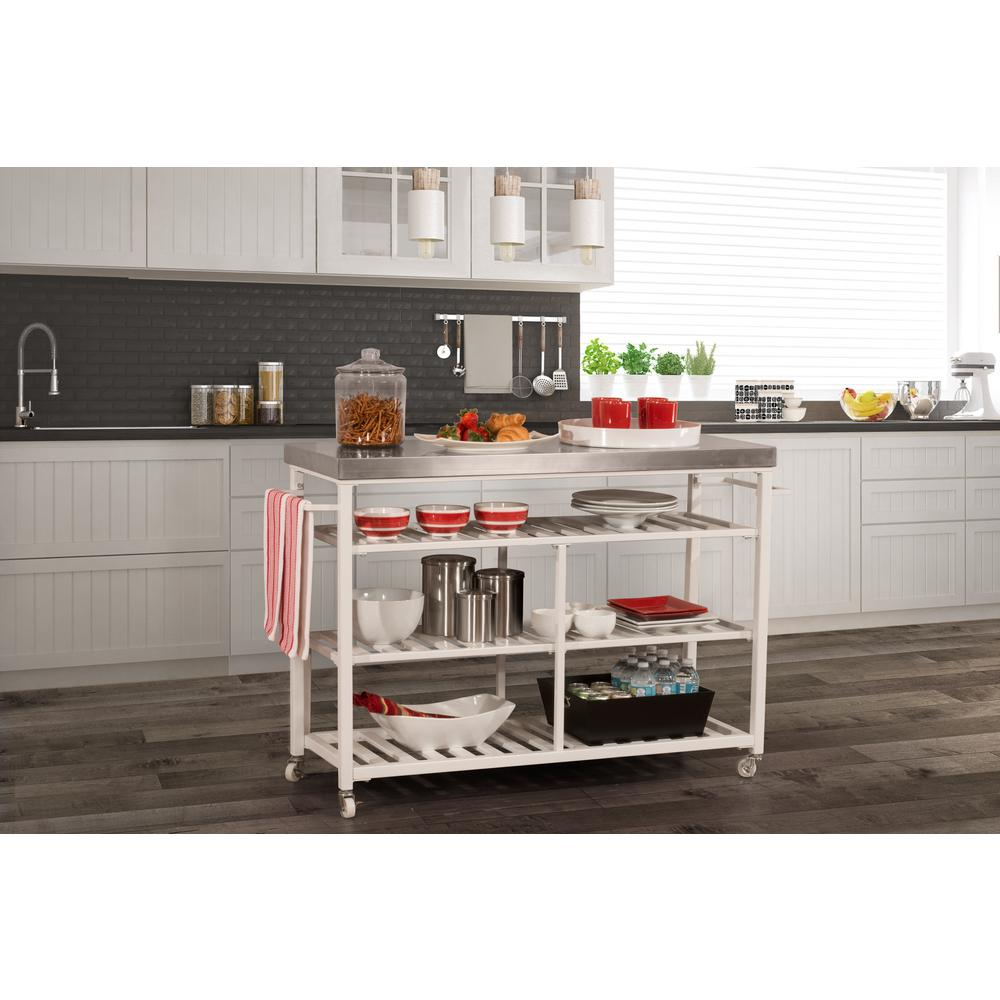 Kennon Kitchen Cart in White with Stainless Steel Top. Picture 2