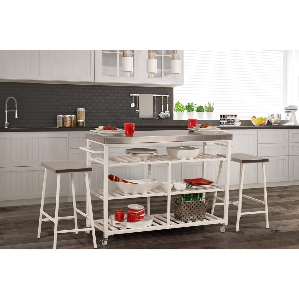 Kennon Kitchen Cart in White with Stainless Steel Top. Picture 3