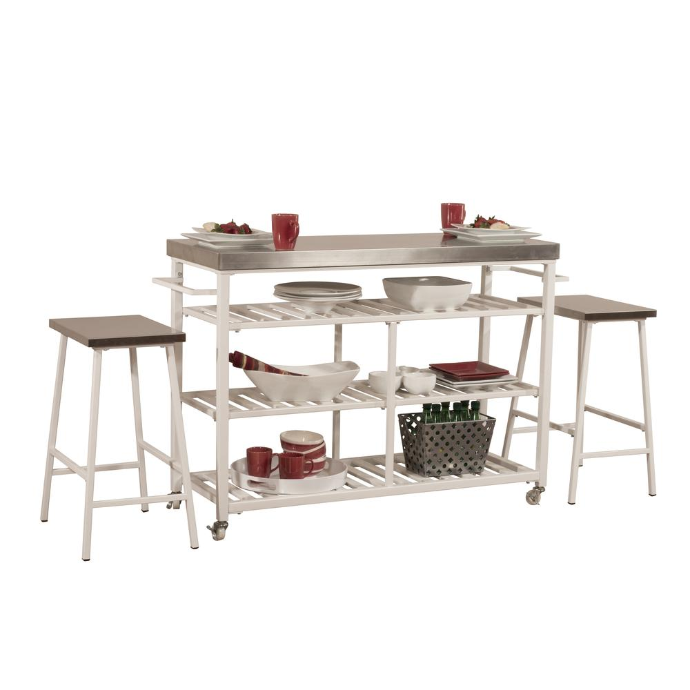 Kennon Kitchen Cart in White with Stainless Steel Top. Picture 5
