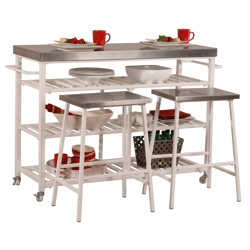 Kennon Kitchen Cart in White with Stainless Steel Top. Picture 6