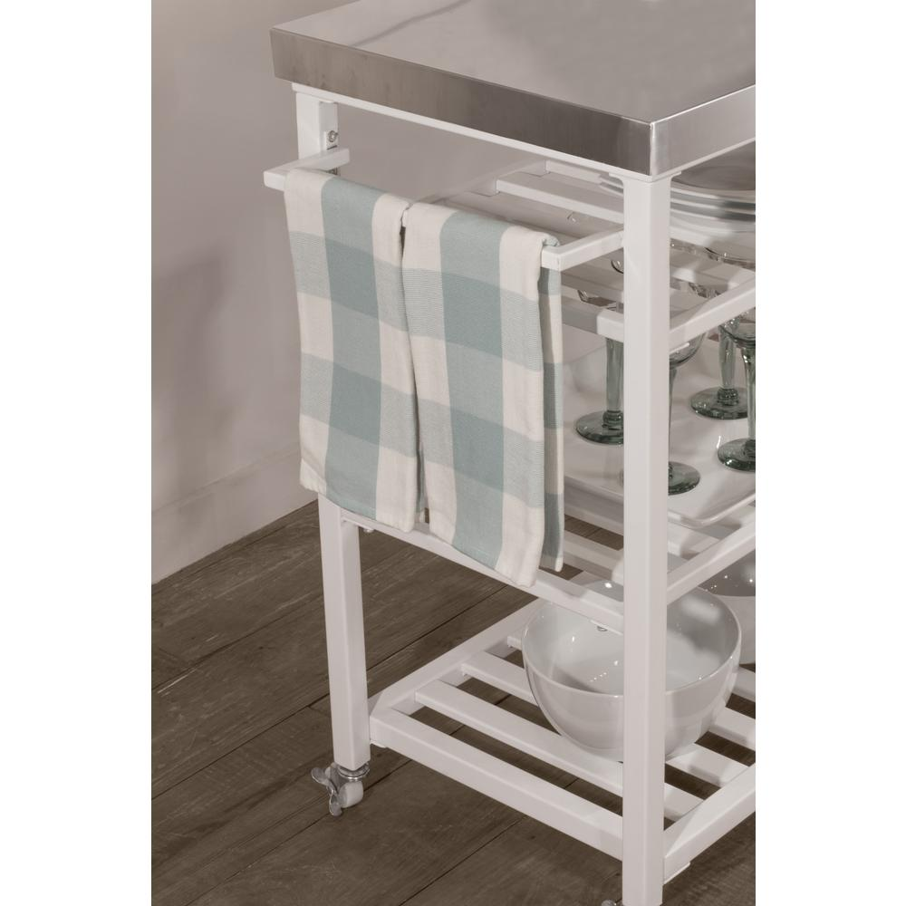 Kennon Kitchen Cart in White with Stainless Steel Top. Picture 8