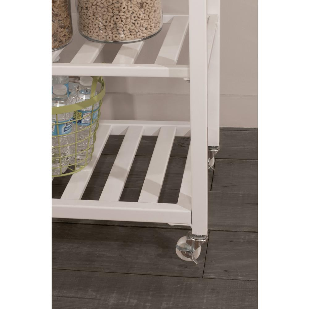 Kennon Kitchen Cart in White with Stainless Steel Top. Picture 10