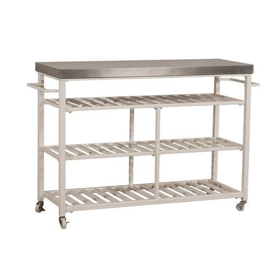 Kennon Kitchen Cart in White with Stainless Steel Top. Picture 1