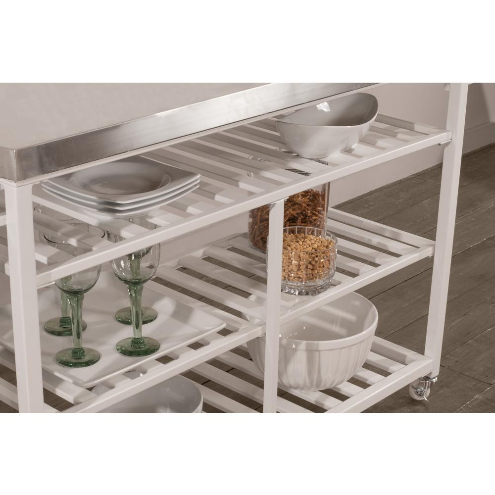 Kennon Kitchen Cart in White with Stainless Steel Top. Picture 12