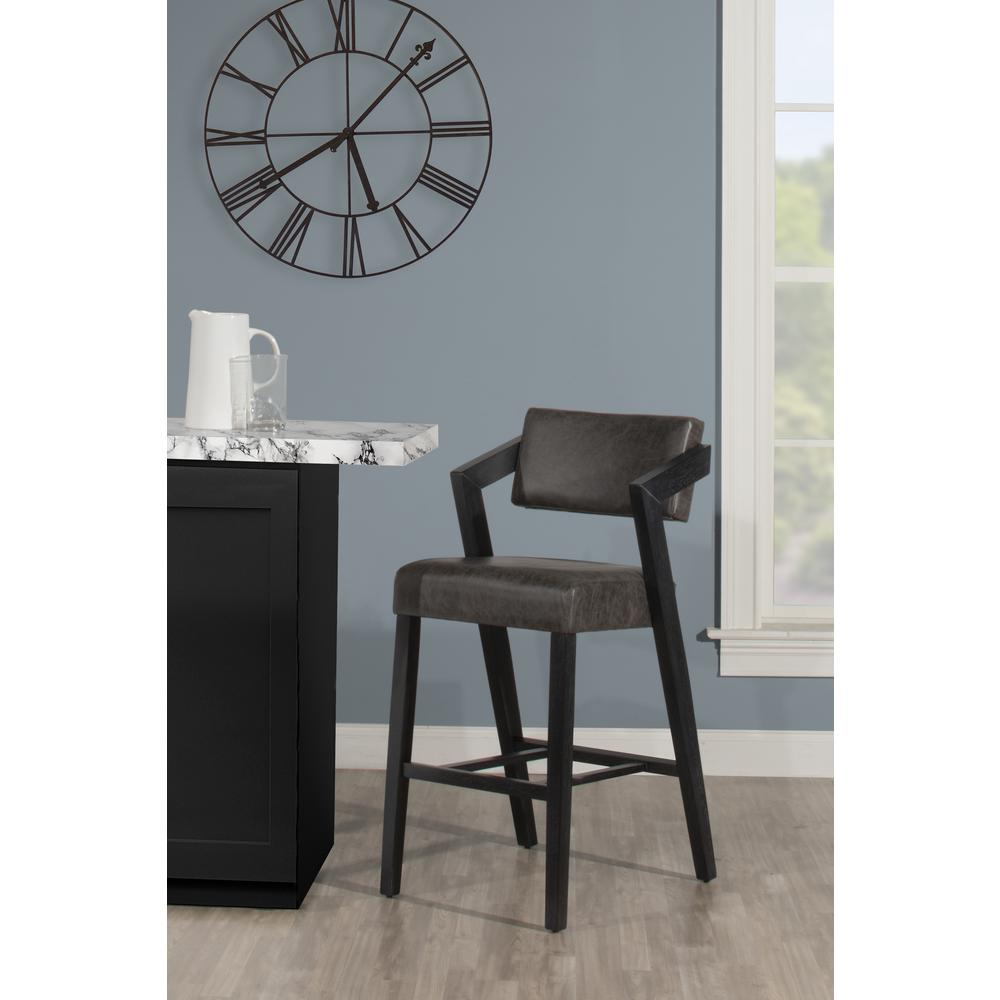 Snyder Non-Swivel Bar Height Stool, Blackwash. Picture 5