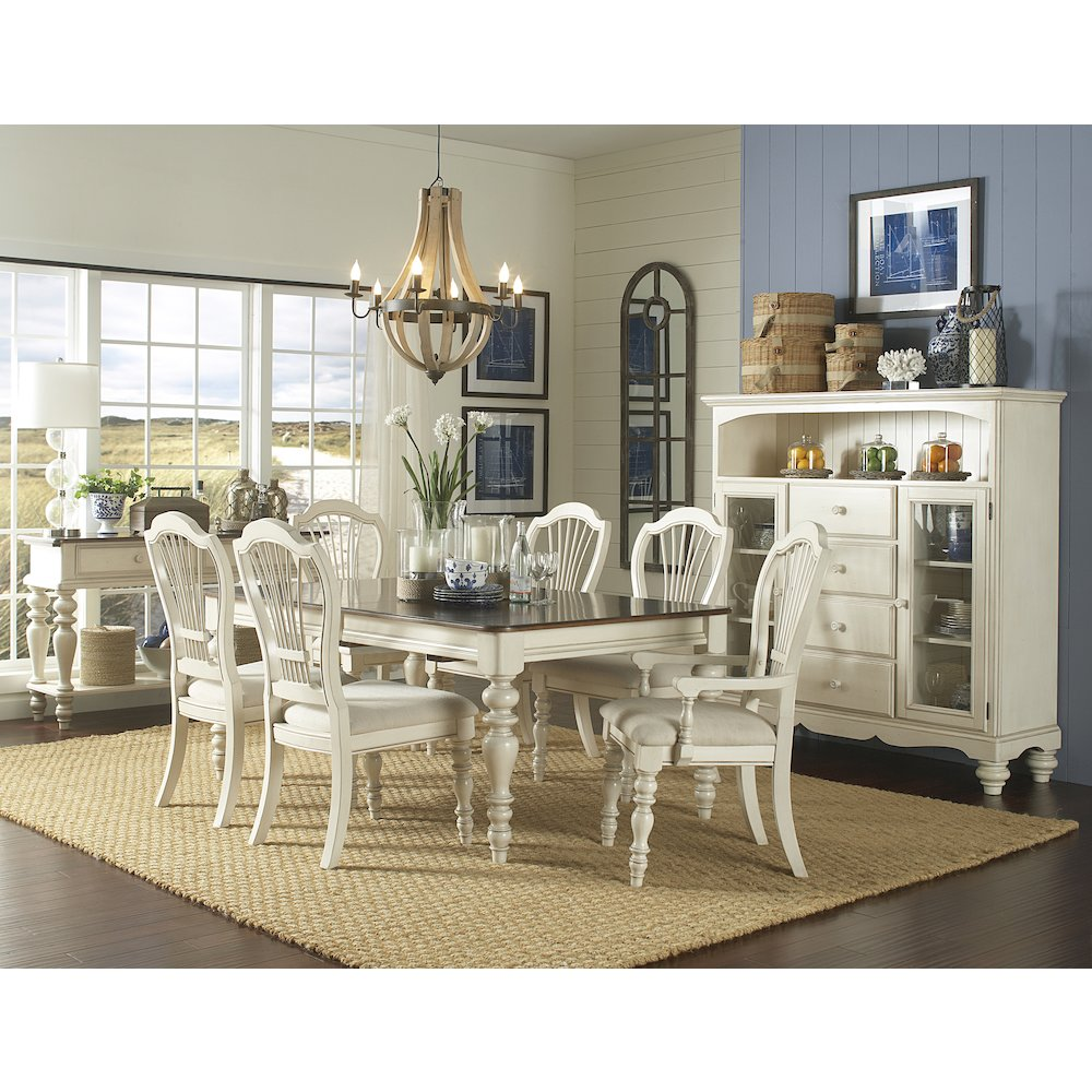 Pine Island 7 PC Dining Set - with Wheat Back Chairs. Picture 1