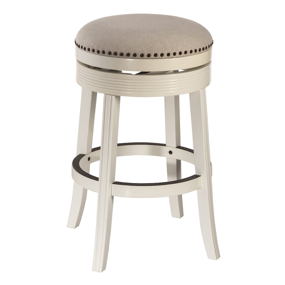 Tillman Backless Swivel Bar Stool White