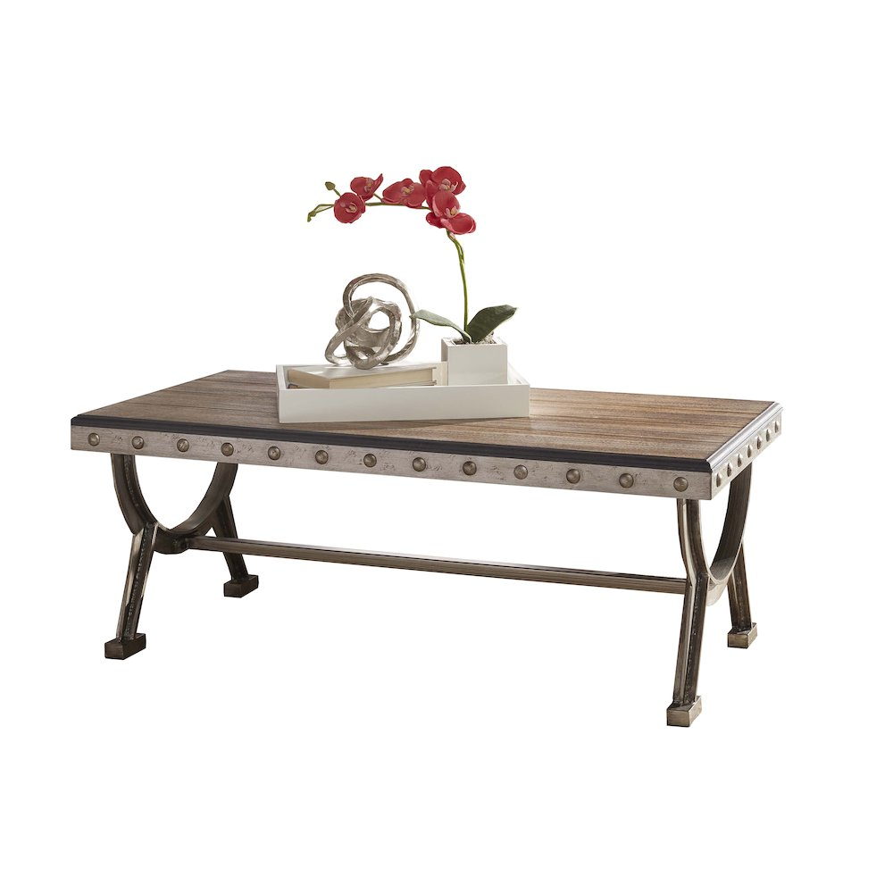 Paddock coffee table brushed steel metal distressed for Gray metal coffee table