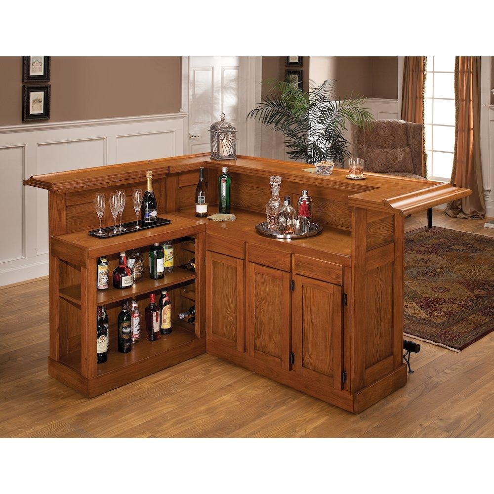Bowery Kitchen Supplies: Classic Large Oak Bar With Side Bar, Oak Finish