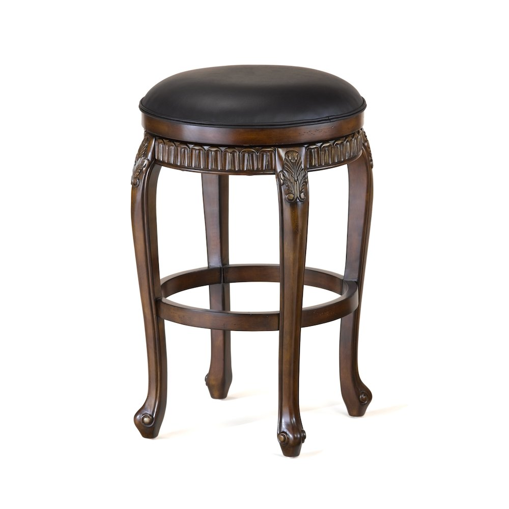 Fleur de Lis Backless Swivel Counter Height Stool. Picture 1