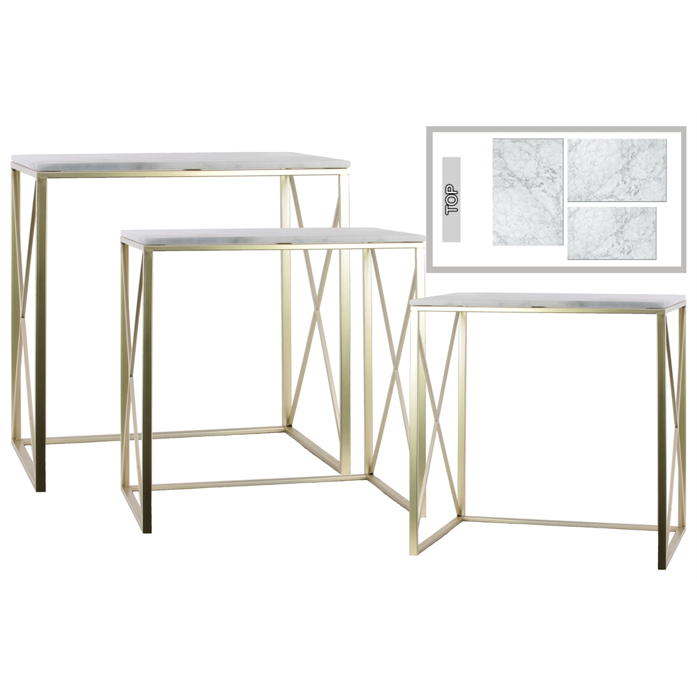 Metal Rectangular Nesting Console Table With Marble Top