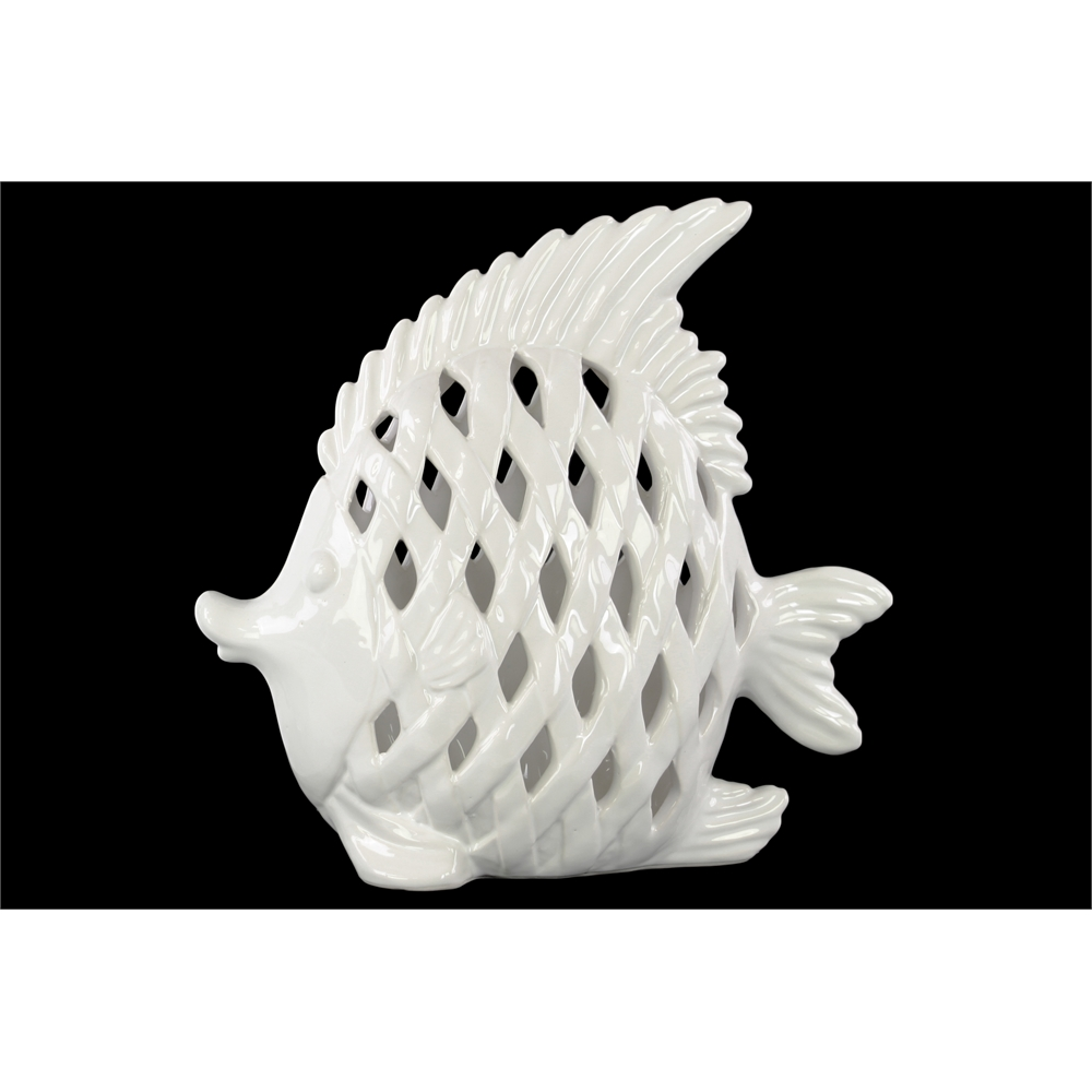 Ceramic Angel Fish Figurine With Diagonal Cutout Design