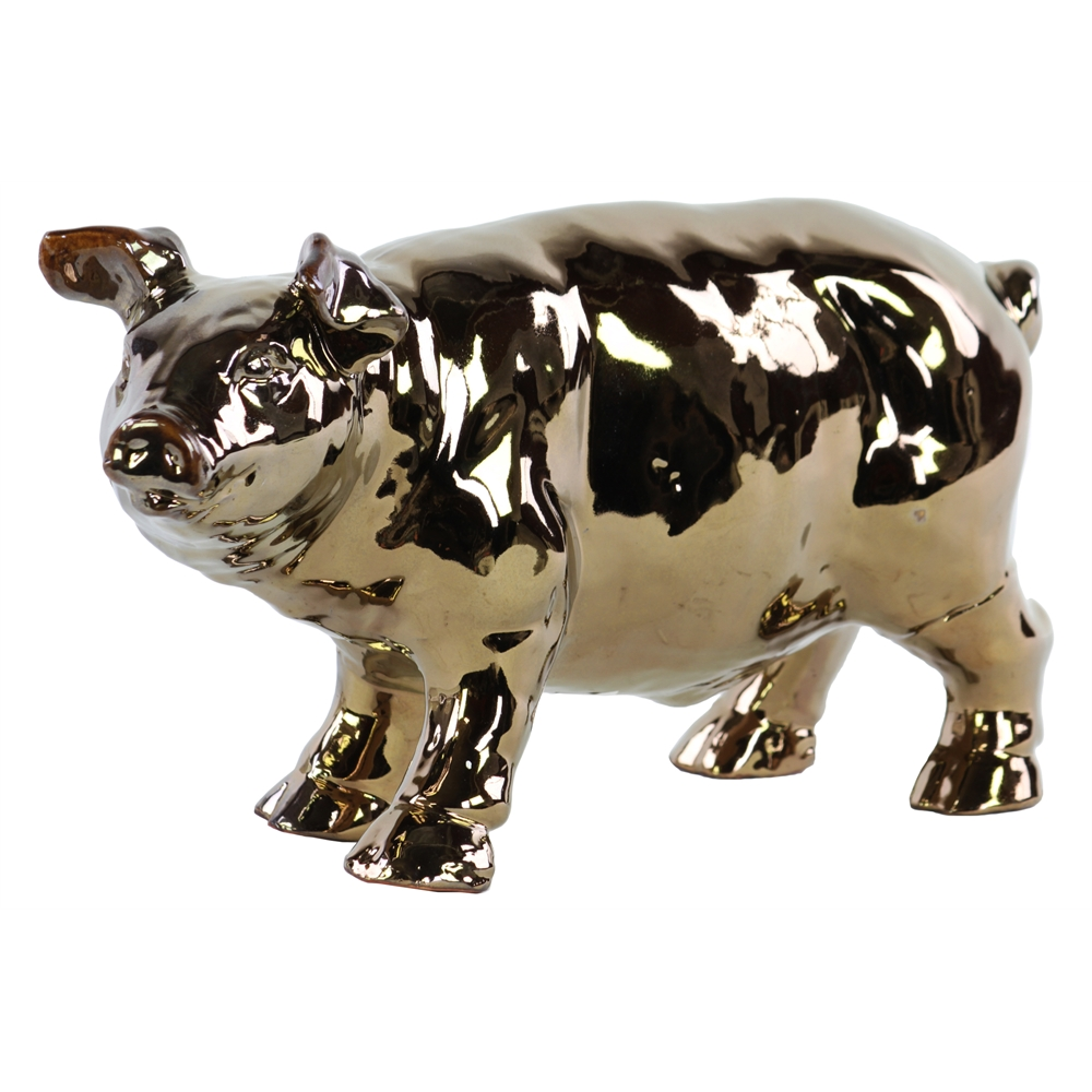 tv cabinet ceramic standing pig figurine polished chrome finish gold 27339