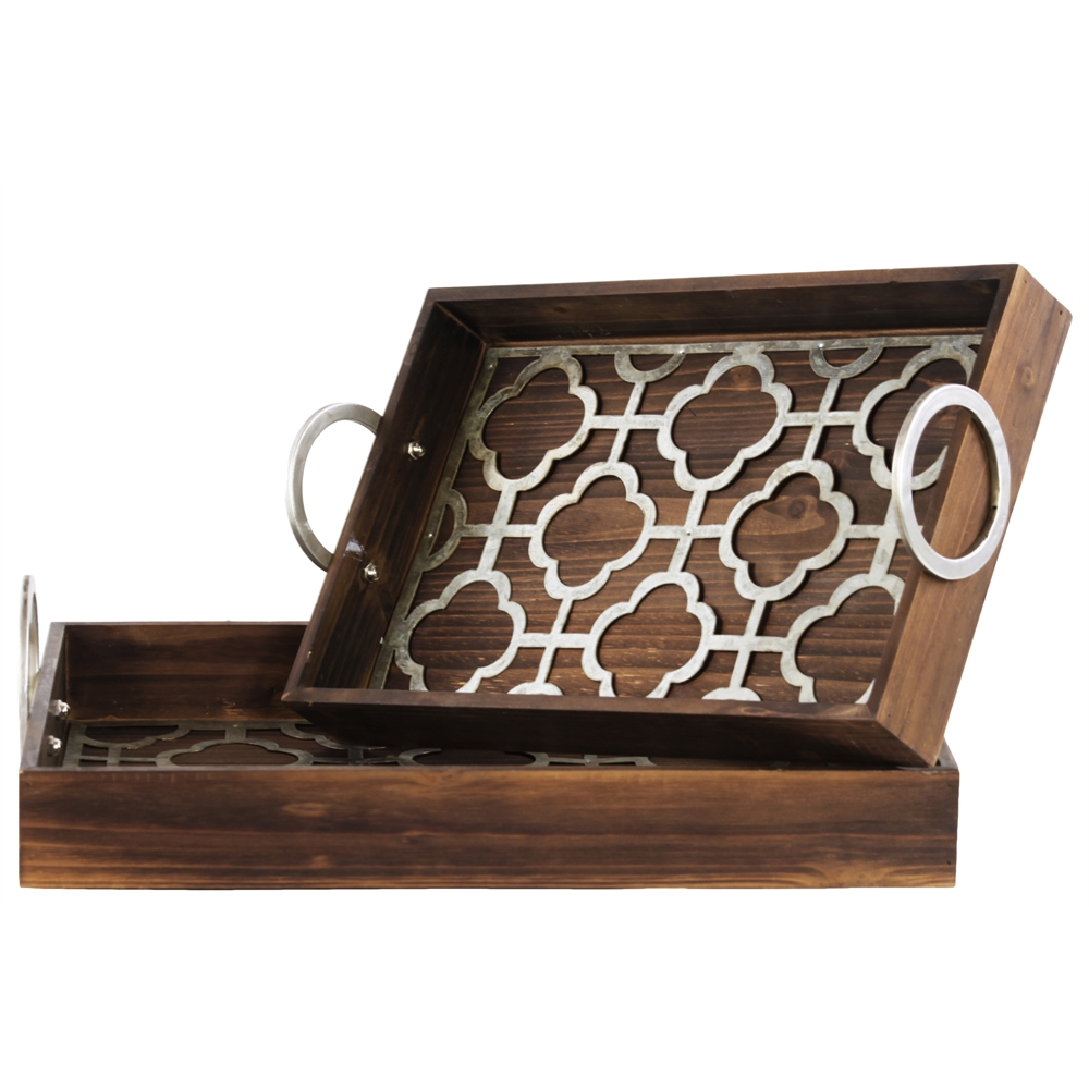 Wood Nesting Tray With Metal 2 Handles And Quatrefoil