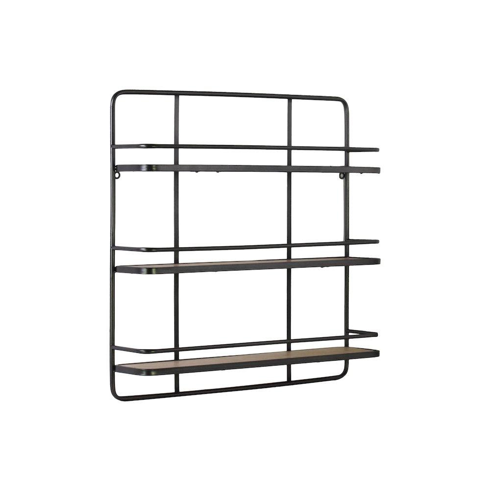 metal rectangular wall shelf with 3 wooden tier metallic finish gunmental gray