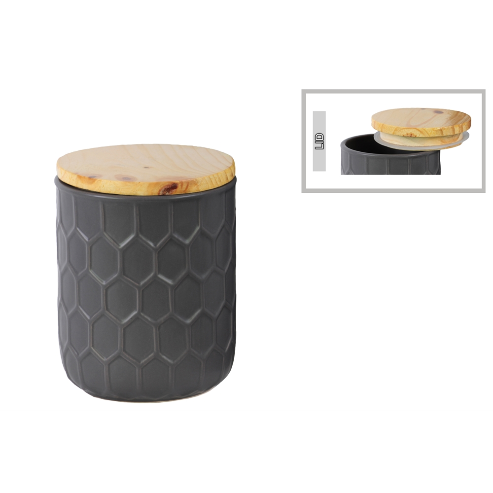 Ceramic Round 32 Oz Canister With Embossed Hexagon
